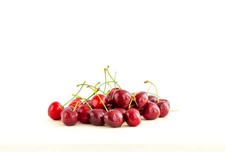 Sweet cherries. Red cherries, ripe berries on a white background.