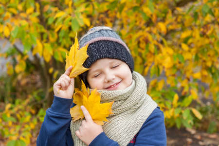 Autumn mood. The boy holds yellow maple leaves in his hands. Autumn portrait of a child in a knitted hat. Sight.