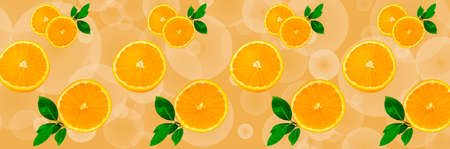Sliced orange on a bright orange background. Oranges in the panoramic image. Panorama, a banner with space for text or insertion. Pieces of citrus fruit. Template for creative and graphic works.