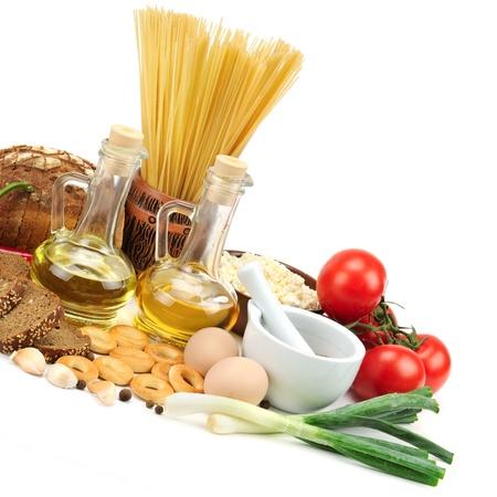 set of products isolated on white background photo