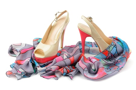 Women's shoes and accessories isolated on white background.