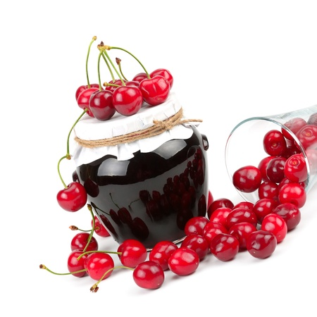 A delicious cherry jam and cherry fruit juicy Stock Photo
