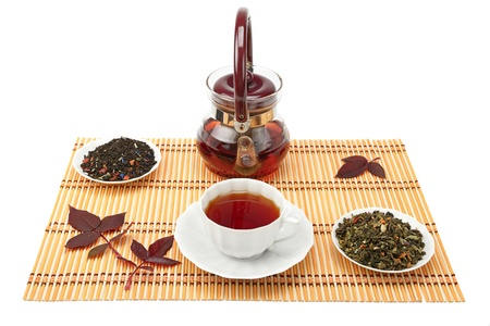 cup of tea and tea leaves on the mat Stock Photo - 13812276