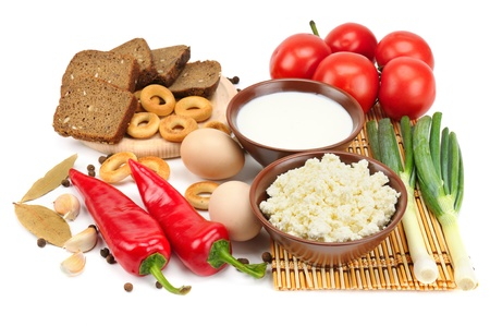 set of dietary food isolated on white background photo