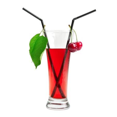 Cherry cocktail isolated on white background