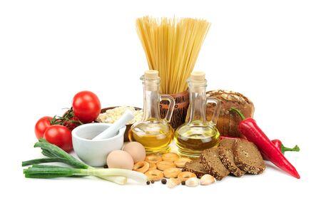 range of food on white background Stock Photo