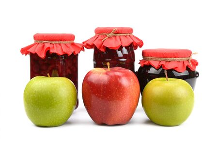 apple jam and fresh apples Stock Photo