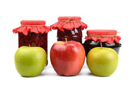 apple jam and fresh apples Stock Photo