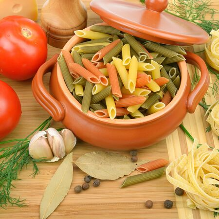 colorful pasta and fresh vegetables