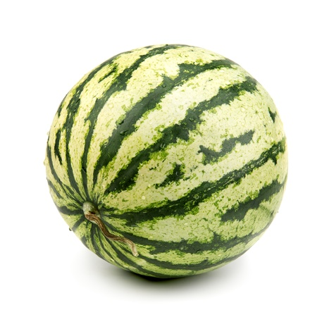 striped watermelon isolated on white background Imagens
