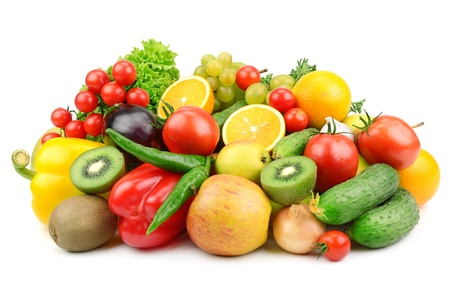 fruits and vegetables  isolated on a white background Stock Photo