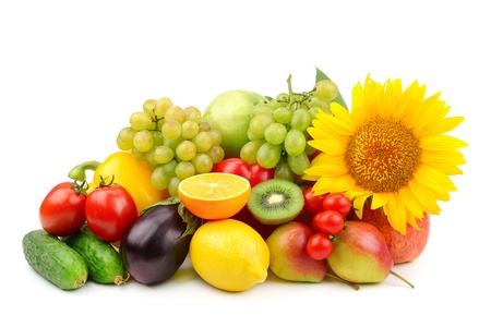 collection of fruits and vegetables isolated on a white background Stock Photo - 15205510