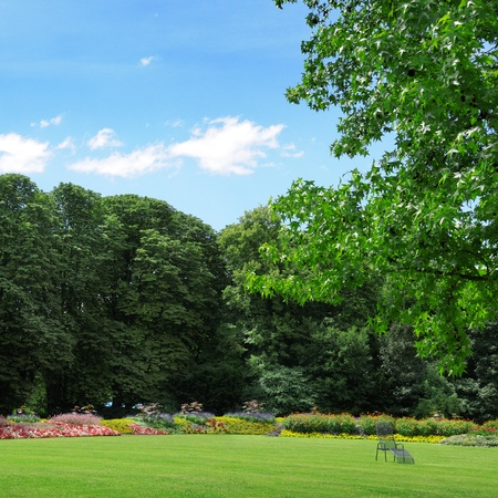 park with lawns and flower gardens