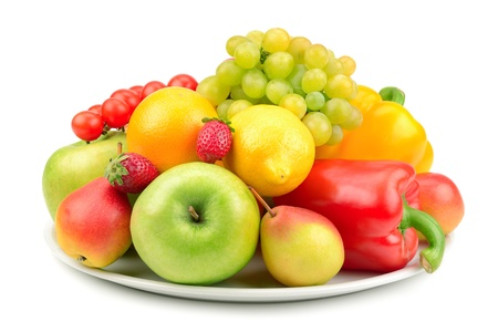 fruits and vegetables on a plate isolated on white background Stock Photo - 15214707