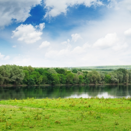 forest and meadow on the banks of the River Stock Photo - 15085662