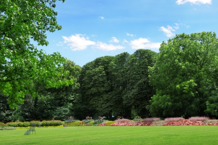 Park with lawns and flower beds for walks and rest