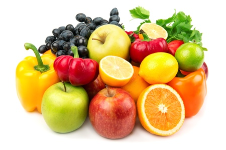 useful set of fruits and vegetables Stock Photo