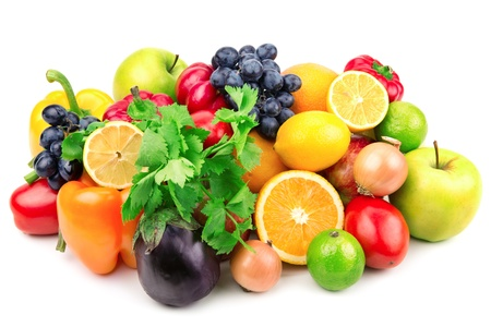Set of fruits and vegetables isolated on white background Stock Photo - 15885004