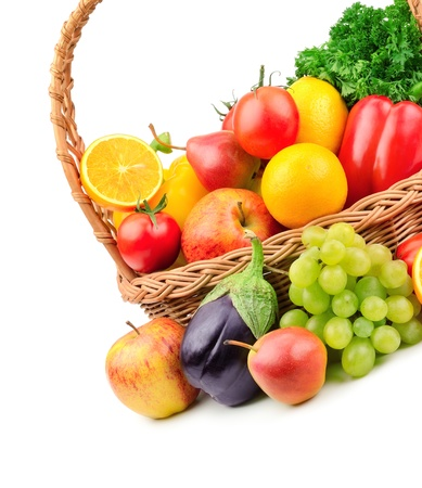 fruits and vegetables in a wicker basket Stock Photo - 15985674