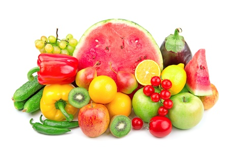 watermelon and a variety of fruits and vegetables isolated on white background Stock Photo