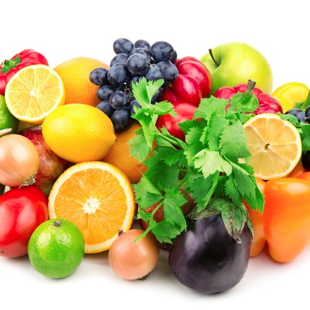 fresh fruits and vegetables isolated on white background Stock Photo - 16583256
