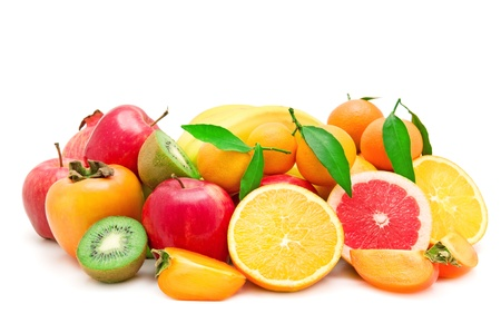 Set of fruits isolated on white background photo