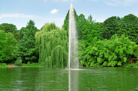 fountain in the center of the lake Stock Photo - 17534009