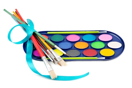 kit of watercolor paints and brushes for painting Stock Photo - 17842236