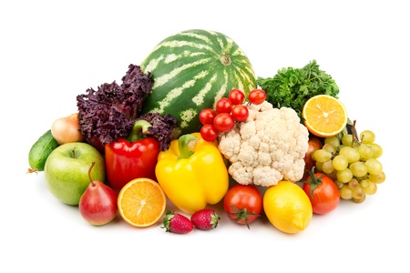 watermelon and a variety of vegetables and fruits