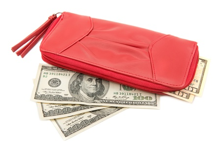 wallet with dollar bills on a white background Stock Photo