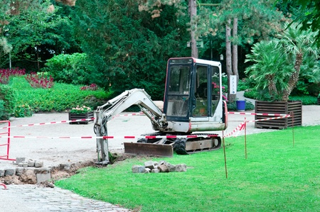 small excavator working in the park Zdjęcie Seryjne
