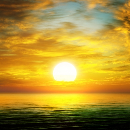 sun rise over the sea photo