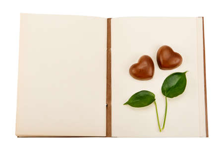 scratch pad: book for records with a pattern in the form of hearts Stock Photo