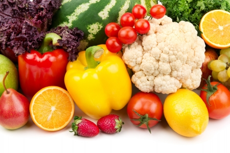 useful set of fruits and vegetables photo
