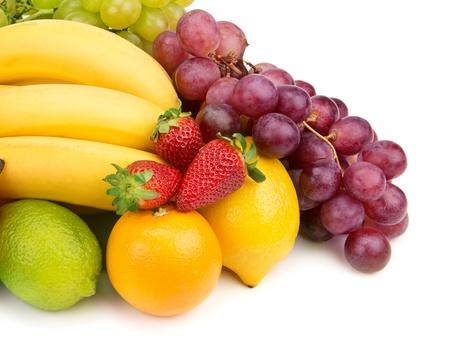 tiendas de comida: Conjunto de frutas aisladas sobre fondo blanco Foto de archivo