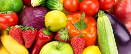 bright background of different fruits and vegetables Standard-Bild