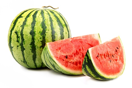 bacca: Watermelon and its parts isolated on white background Stock Photo