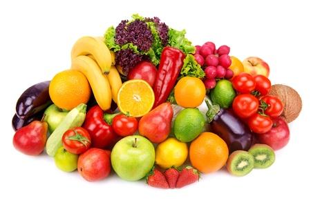 Conjunto de frutas y verduras aislados sobre fondo blanco Foto de archivo