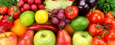 熟した果物や野菜の明るい背景