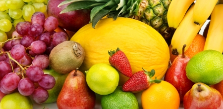 bright background of various ripe fruits photo