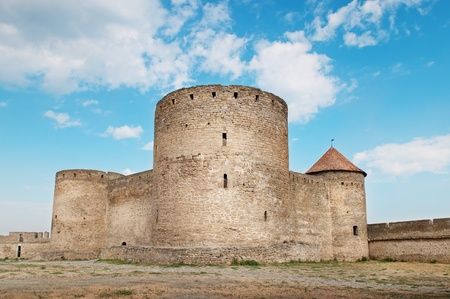 fortified: ancient fortress with towers and fortified wall