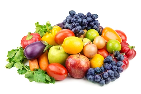 set of different fruits and vegetables isolated on white background Stock Photo