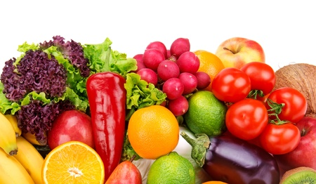 set van groenten en fruit geïsoleerd op een witte achtergrond