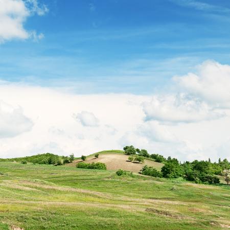 Mountainous terrain and the blue sky