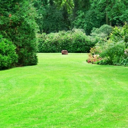 mooie zomer tuin met grote groene gazons