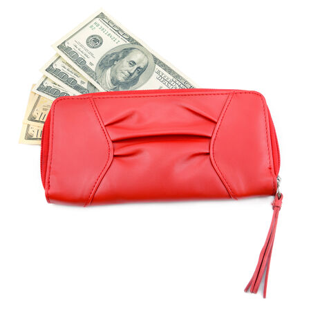 caretaking: wallet with dollar bills on a white  Stock Photo