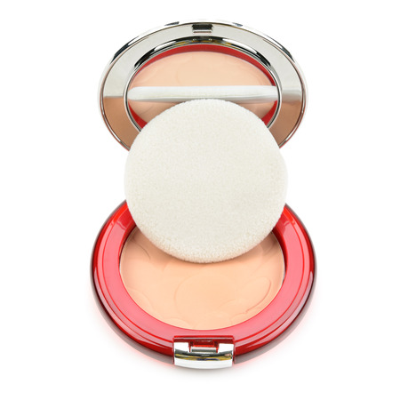 powder puff: powder, puff and powder-cases with a mirror Stock Photo