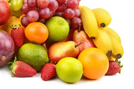 set of fruits isolated on white  photo