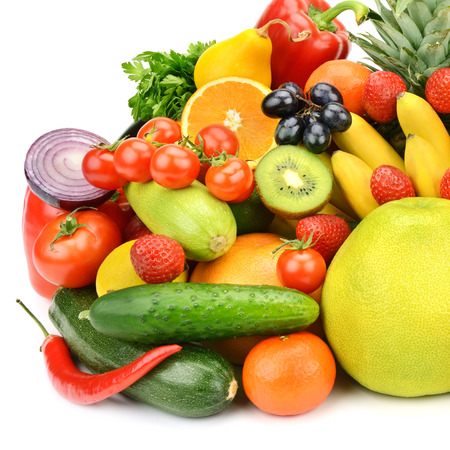 Collection of vegetables and fruits isolated on white background photo