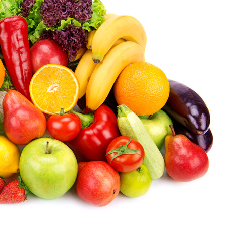 set of fruits and vegetables isolated on white background photo
